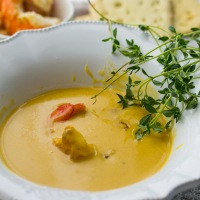 Ladurée sessions -Creme of Pumpkin Soup with Prawns