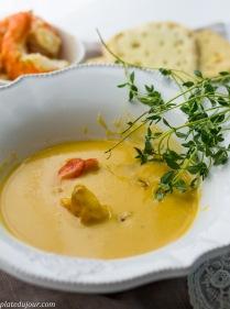 Ladurée sessions -Creme of Pumpkin Soup with Prawns