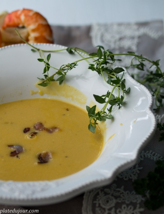 Pumpkin soup with prawns