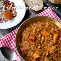 Spicy Lentils with carrots and pumpkin in tomato sauce
